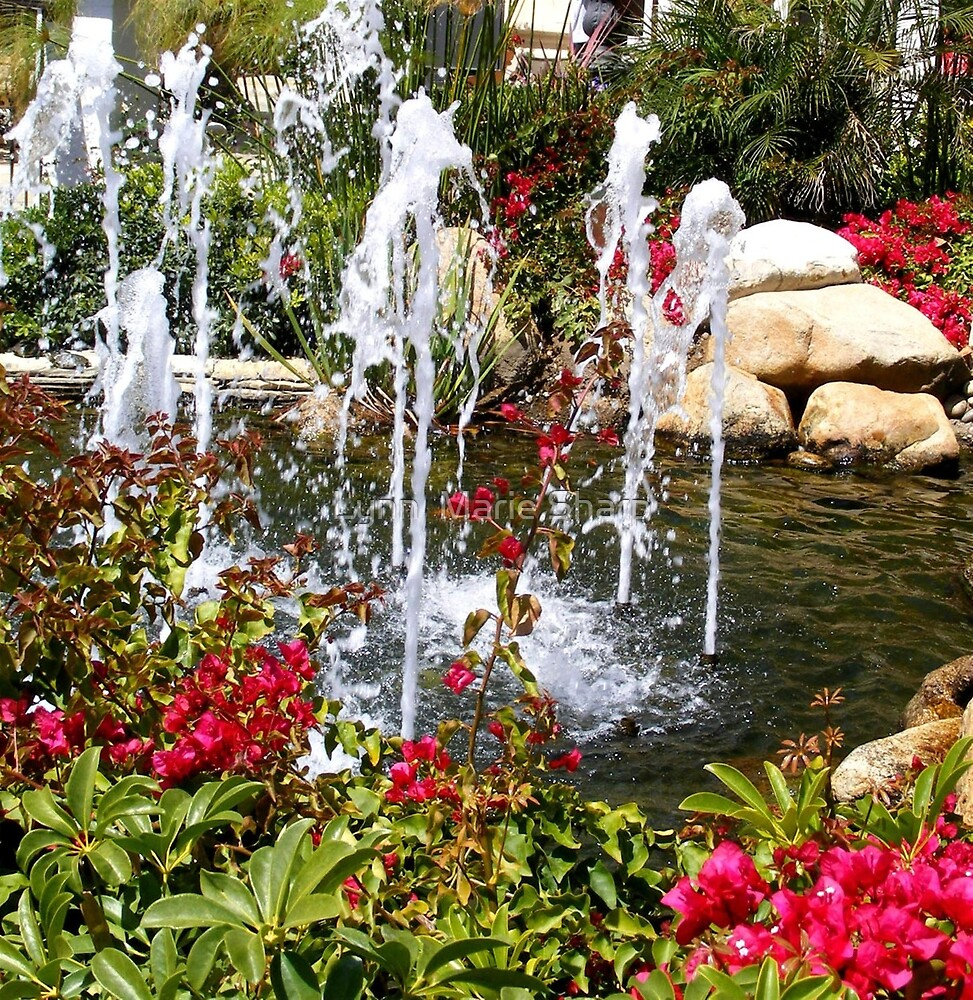 Fountain and Flowers In San Diego, California by Marie Sharp