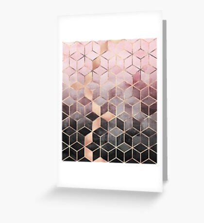 Pink And Grey Gradient Cubes Greeting Card
