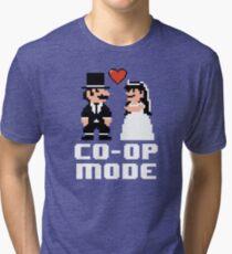 Co-op Mode - Newly Wed Gamer Couple Tri-blend T-Shirt