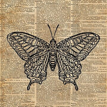 Butterfly Zentagle Vintage Dictionary Art by DictionaryArt