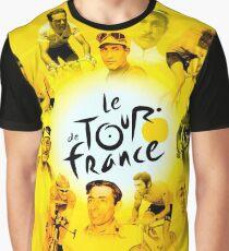 LE TOUR DE FRANCE; Vintage Bicycle Racing Print Graphic T-Shirt
