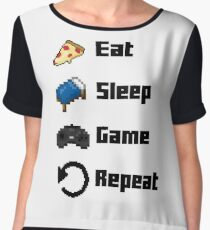 Eat, Sleep, Game, Repeat! 8bit Women's Chiffon Top