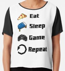 Eat, Sleep, Game, Repeat! 8bit Chiffon Top
