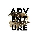 Adventure black typography brown feathers by blackcatprints