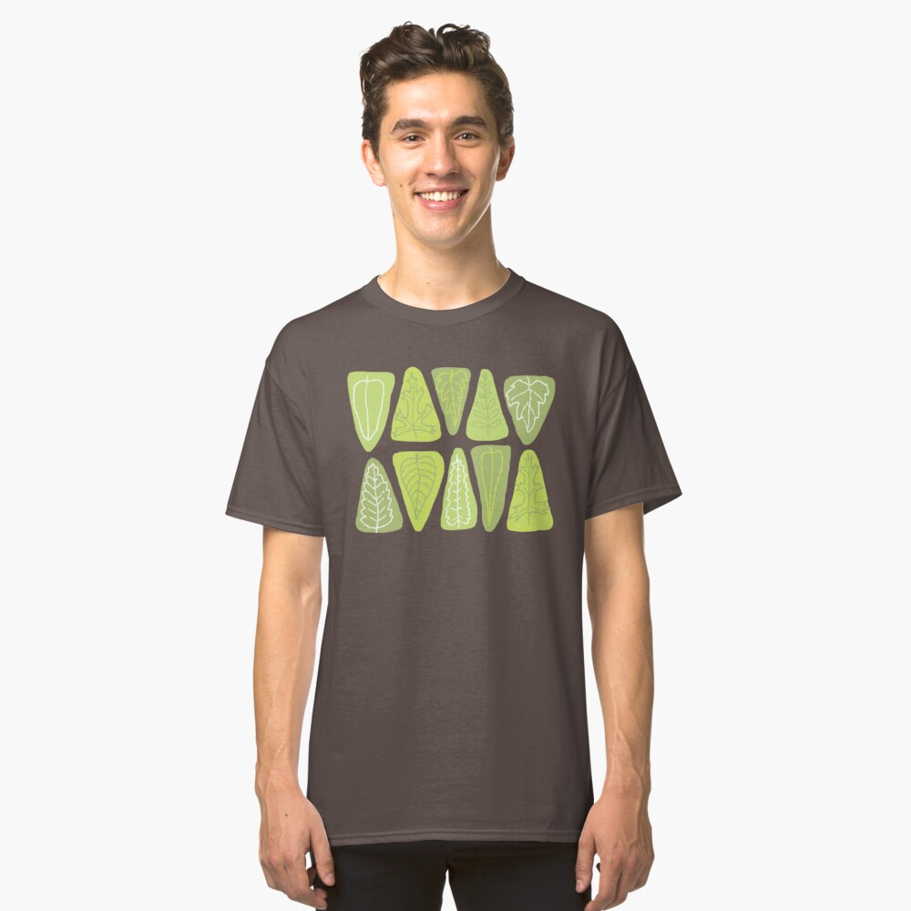 Mid Century Triangle Leaves in Shades of Green Classic T-Shirt