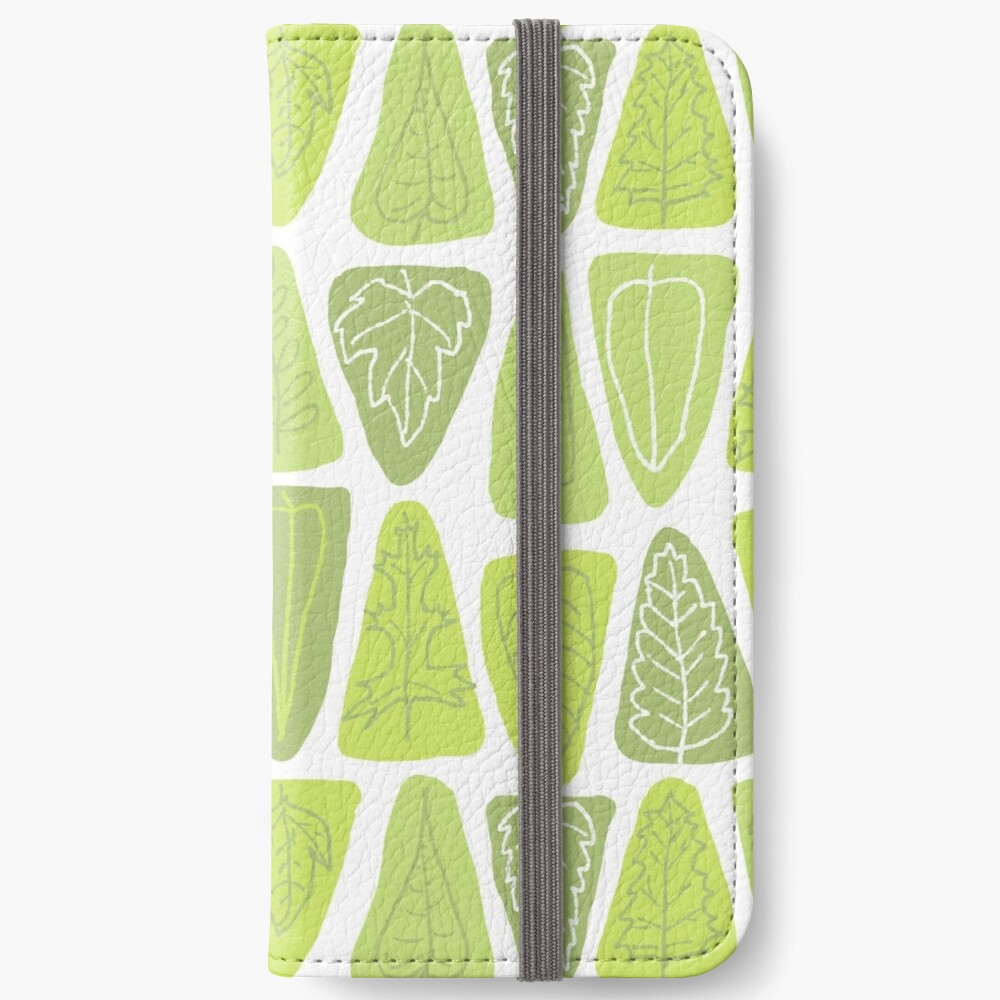 Mid Century Triangle Leaves in Shades of Green iPhone Wallet