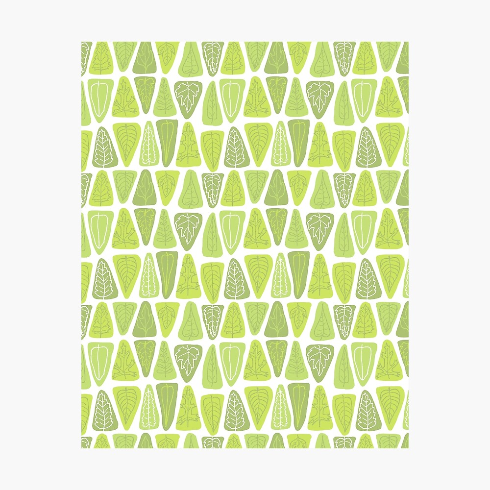 Mid Century Triangle Leaves in Shades of Green Photographic Print