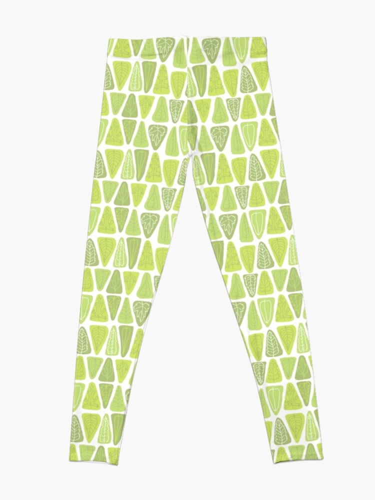 Alternate view of Mid Century Triangle Leaves in Shades of Green Leggings