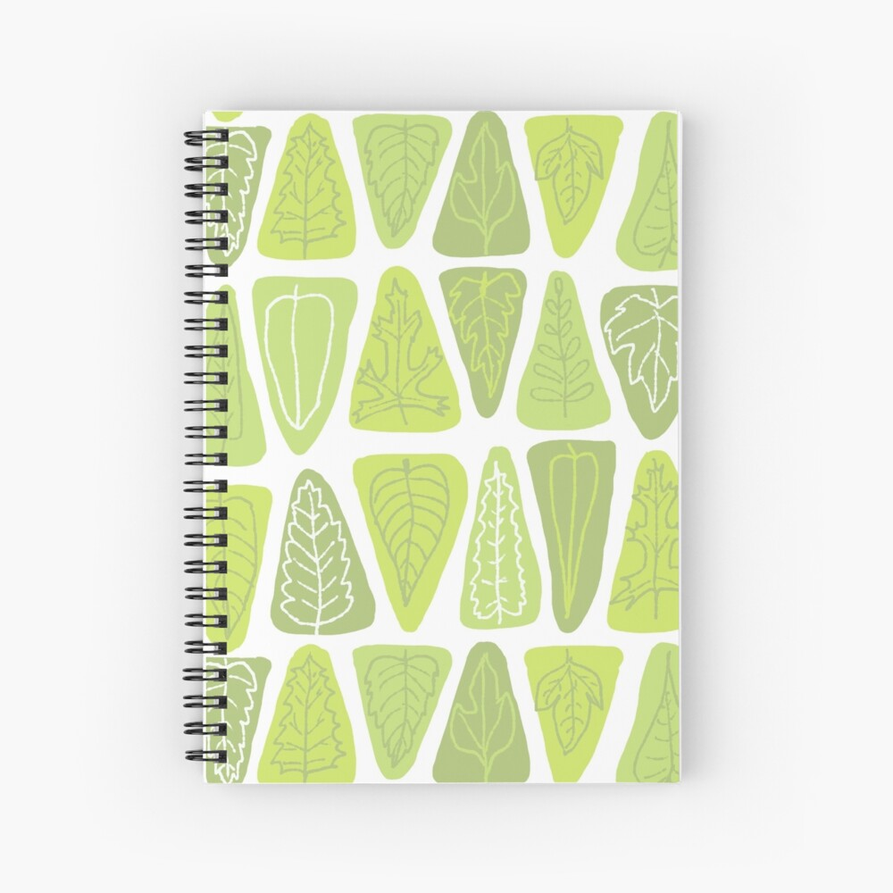 Mid Century Triangle Leaves in Shades of Green Spiral Notebook