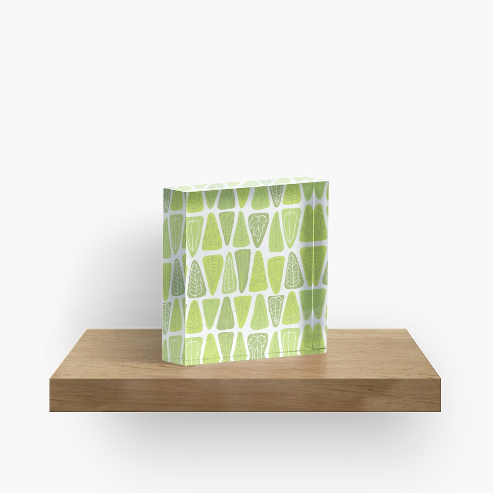 Mid Century Triangle Leaves in Shades of Green Acrylic Block