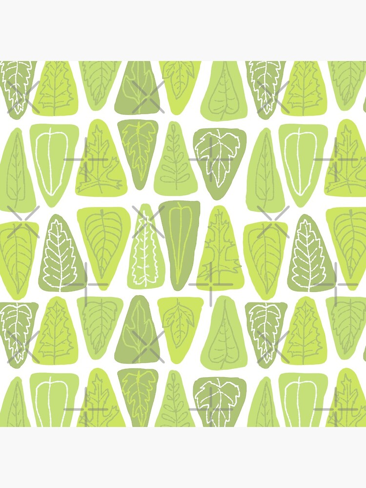 Mid Century Triangle Leaves in Shades of Green by vinpauld