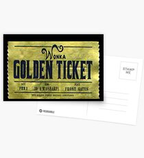 Willy Wonka goldenes Ticket Postkarten