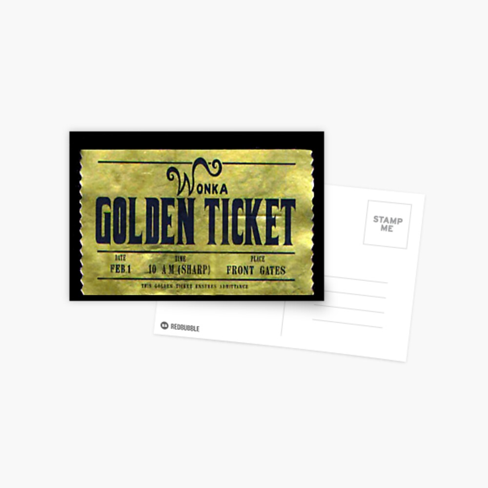 Willy Wonka goldenes Ticket Postkarte