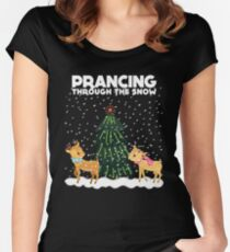 Cute Funny Prancing Through the Snow Women's Fitted Scoop T-Shirt