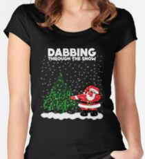 Cute Funny Dabbing Through the Snow Women's Fitted Scoop T-Shirt