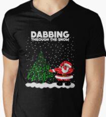 Cute Funny Dabbing Through the Snow Men's V-Neck T-Shirt