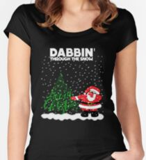 Cute Funny Dabbin' Through the Snow Women's Fitted Scoop T-Shirt