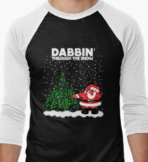 Cute Funny Dabbin' Through the Snow Men's Baseball ¾ T-Shirt