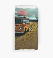 VW Bus on Sand Road Volkswagen Westfalia  Duvet Cover
