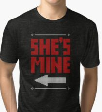 She's Mine He's Mine Matching Couple T-Shirts Tri-blend T-Shirt