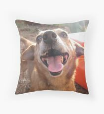 Smiling Dog Throw Pillow
