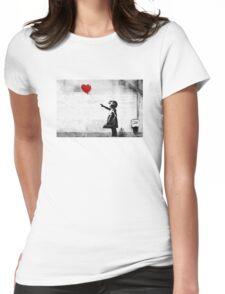 Banksy - Girl with a balloon Womens Fitted T-Shirt