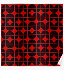 Optical Illusion Pattern Neon Red on Black Poster