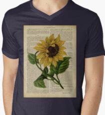 Botanical print, on old book page - flowers- Sunflower  Mens V-Neck T-Shirt