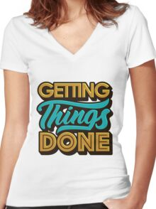 Getting Things Done2 T-shirt femme moulant col V