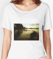 Indy at the frozen pond. Women's Relaxed Fit T-Shirt
