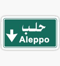 Aleppo Road Sign, Syria Sticker