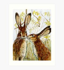 Funny Rabbits - Little Kiss 543 Art Print