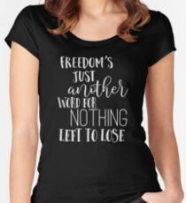 Janis Joplin Music Lyrics Quotes Typography - Freedom Women's Fitted Scoop T-Shirt