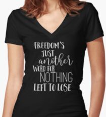 Janis Joplin Music Lyrics Quotes Typography - Freedom Women's Fitted V-Neck T-Shirt