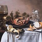 A still life with a roemer, a crab and a peeled lemon by Gavin Kerslake