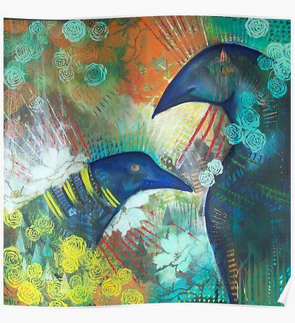 Ravens in the Garden Poster