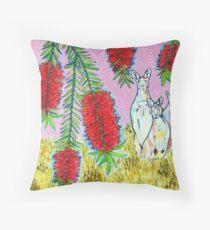 Kangaroos with Bottlebrush Throw Pillow