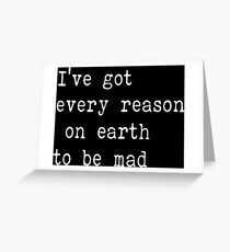 The Beatles Ill cry Instead Mad Crazy Angry Sarcasm Lyrics Text Greeting Card