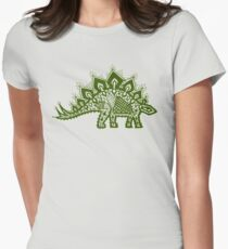 Stegosaurus Lace - Green Women's Fitted T-Shirt