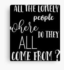 Eleanor Rigby - The Beatles - Vintage Typography Lyrics Canvas Print