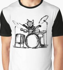 Drummer Cat Graphic T-Shirt