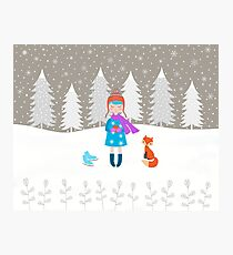 Girl - Fox - Winter Photographic Print