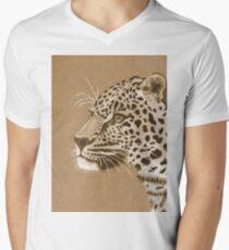 Sepia Leopard Men's V-Neck T-Shirt