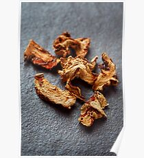 Dried Galangal Root in Close Up on Dark Stone Poster