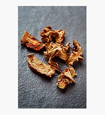 Dried Galangal Root in Close Up on Dark Stone Photographic Print