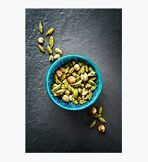 Various Cardamom Spices in Authentic Turkish Bowl Photographic Print