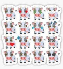 Cow Emoji Different Facial Expressions Sticker