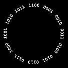 Binary clock, white lettering by suranyami