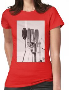 Microphone , sound recording equipment for singing Womens Fitted T-Shirt