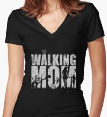 The Walking Mom Cool TV Shower Fans Design Women's Fitted V-Neck T-Shirt